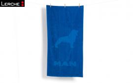 Hochwertiges Zwirnfrottier-Werbe Handtuch mit Hoch-Tief Einwebung für MAN Truck & Bus AG