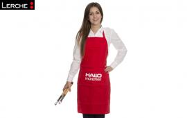 Modische und strapazierfähige Latzschürze mit persönlichen Logodruck für Hallo München