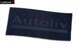 Hochwertiges Werbe-Badetuch aus Zwirnfrottier mit Hoch-Tief-Einwebung für Autoliv