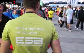 Textiles Werbemittel atmungsaktives Laufshirt mit Werbedruck für ESB Energie Südbayern